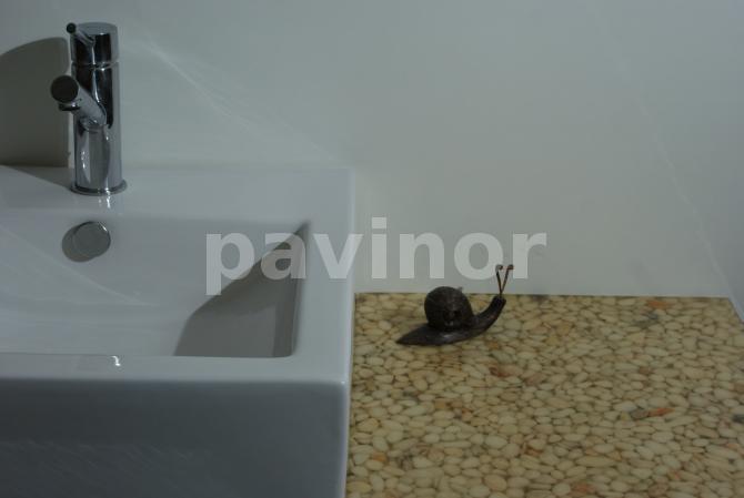 Encimera lavabo canto rodado blanco