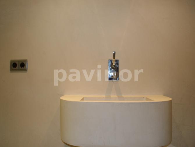 Lavabo microcemento embutido en la pared