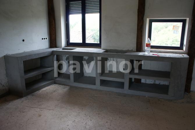 Mueble de cocina con microcemento