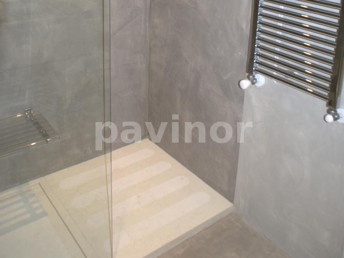 Zona ducha microcemento con dos colores